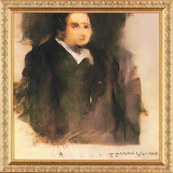 """""""Ritratto di Edmond Belamy"""", prima opera d'arte realizzata dall'AI battuta all'asta. Il dipinto, tratto da un gruppo di undici ritratti raffiguranti i componenti della famiglia Bellamy, è stato venduto alla cifra inaspettata di 432.500 dollari."""