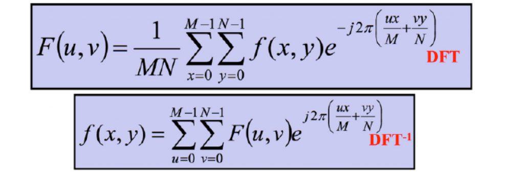 Figura 7 La trasformata discreta di una funzione f(x,y) e la antitrasformata