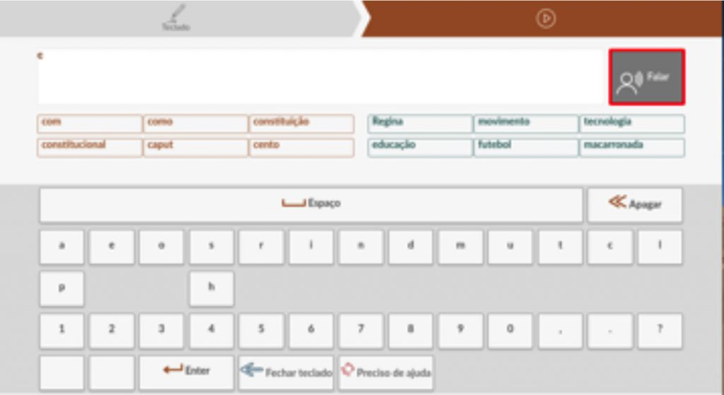 Figure 3. Keyboard features in action- speak button, prediction region (orange), most used words region (green), and key negation